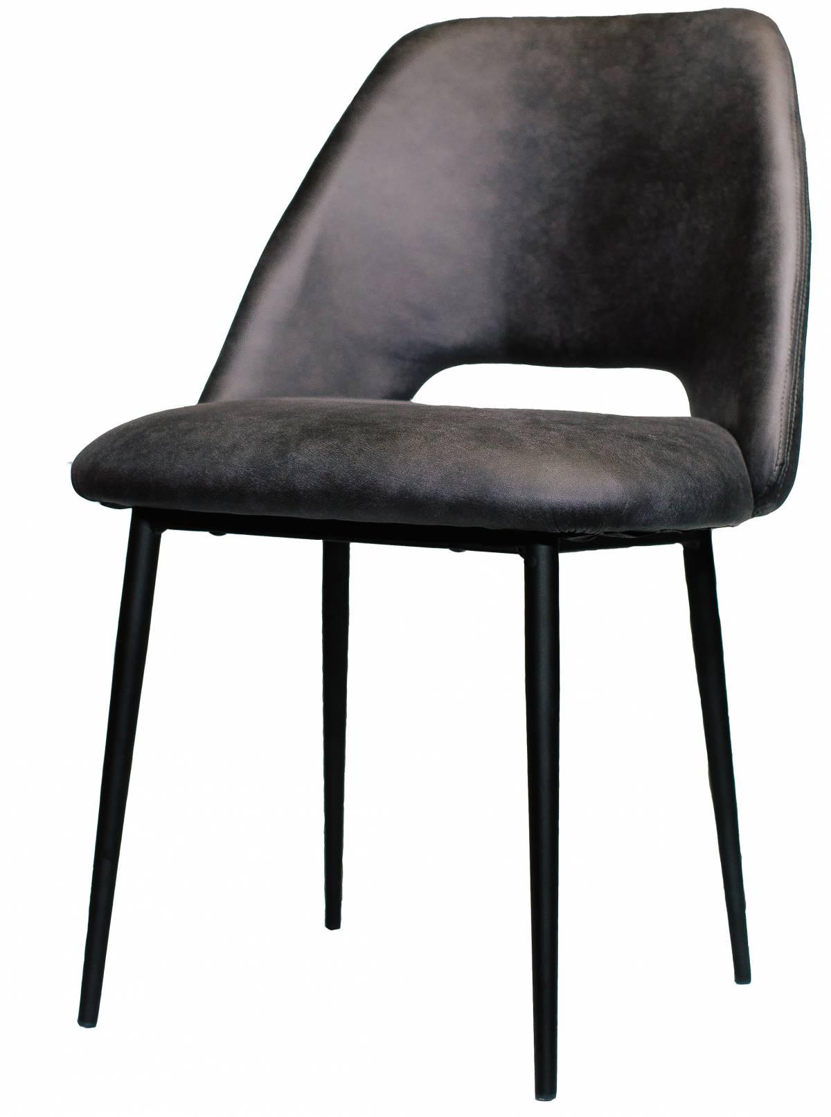 Металлический стул из экокожи черный в Raroom