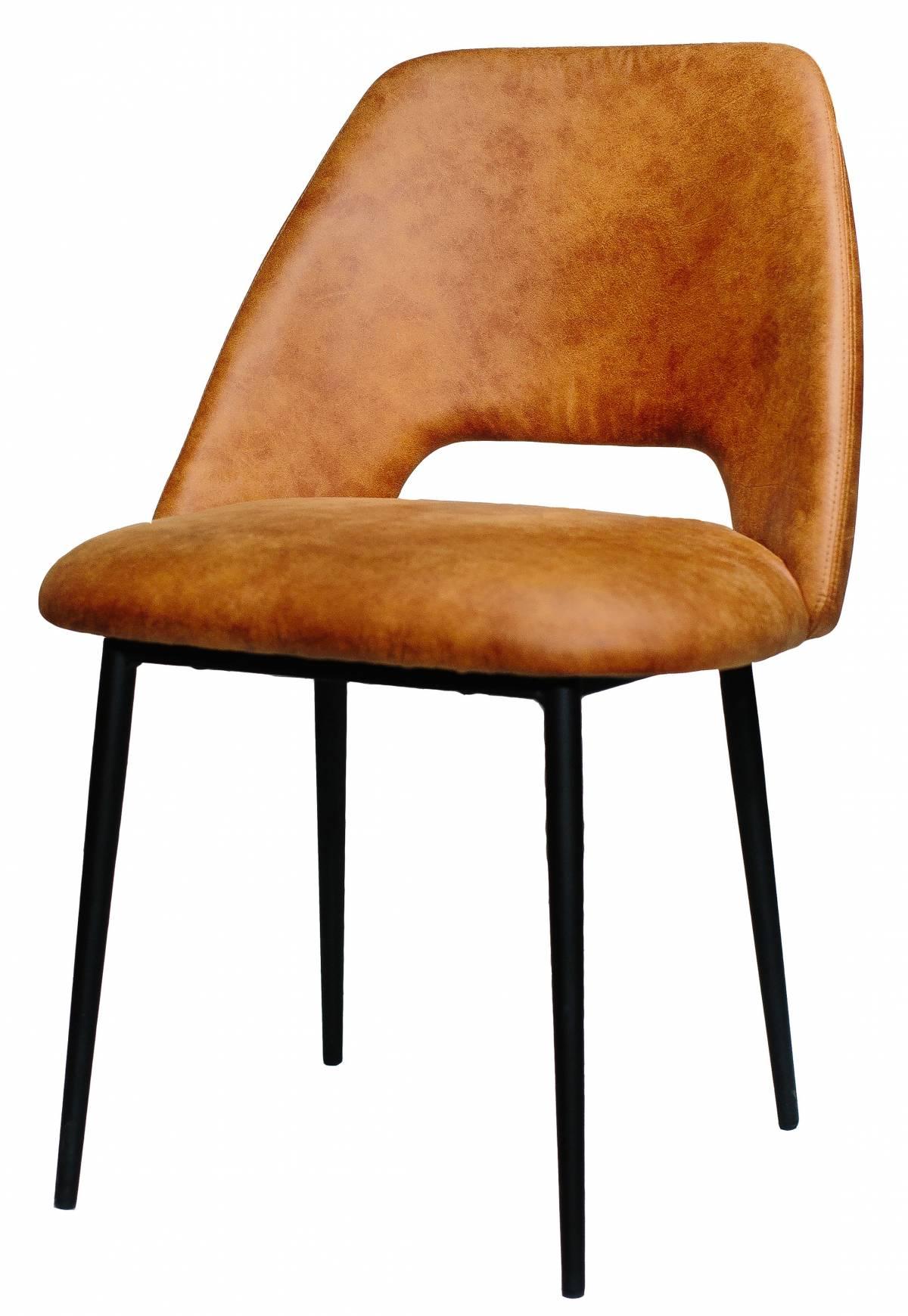 Металлический стул Vic Sandalye из экокожи оранжевый в Raroom